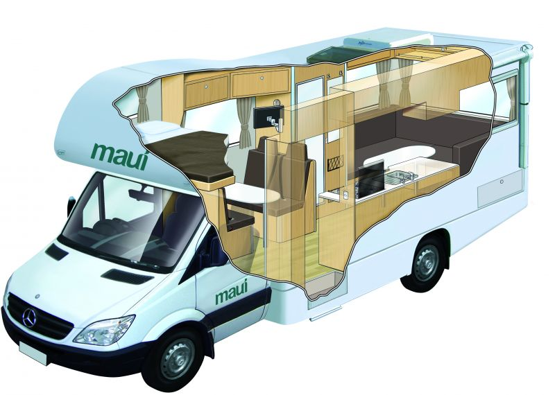 Maui platinum river 6 berth 6 7 berth motorhome new for Interieur camping car